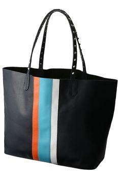 Laula  ストライプレザートートバッグ