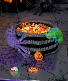 Bug Infested Bowl - These creepy-crawlies are too cute to smush! Adorn your Halloween candy bowl with these easy-to-knit critters and wait for the smiles.
