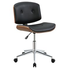 With a nod to the Eames era, the Acme Furniture Camila Office Task Chair brings mid-century modern style to your home office. This sturdy, supportive. Black Office Chair, Mesh Office Chair, Home Office Chairs, Desk Chairs, Office Den, Wooden Chairs, Black Desk, Yellow Office, Dining Chairs