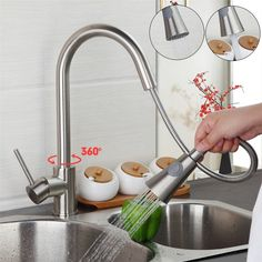 49.99$  Watch now - http://ali1sn.shopchina.info/go.php?t=32702847196 - Newest Pull out Spray Kitchen Faucet Mixer Tap brushed nickel single hand kitchen tap mixer brass hot&cold water faucets  #aliexpress