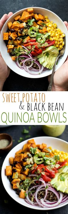 Insane Easy SWEET POTATO BLACK BEAN QUINOA BOWLS topped with a zesty Cilantro Dressing you'll want to pour all over. A fresh vegetarian meal that will satisfy even those meat lovers! The post ..