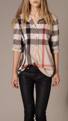 Burberry Brit Check Tunic, Size M Casual Outfits, Fashion Outfits, Womens Fashion, Casual Shirt, Tunic Shirt, Blouse, Plaid Tunic, Red Shirt, Shirt Dress