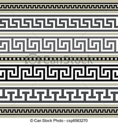 YAY Images - Set of greek geometric borders by ElaK Motifs Aztèques, Spartan Tattoo, Greek Pattern, Vector Border, Border Pattern, Greek Art, Ancient Greece, Clipart, Stencil