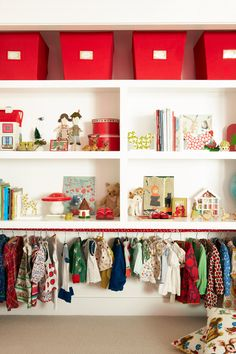 // kids closet - but reversed with hanging up high and play down low