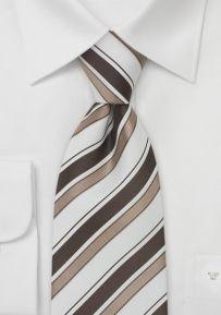 Italian Striped Silk Tie in Snow-White, Tan, and Brown
