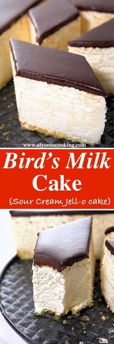 This is one DELICIOUS Bird's Milk Cake (ptichye moloko)! A whipped sour cream filling turns into a delicate mousse, creating a jell-o like cake known as the Bird's milk Cake. Custard Desserts, Custard Recipes, Just Desserts, Baking Recipes, Delicious Desserts, Cake Recipes, Dessert Recipes, Dessert Ideas, Cake Ideas