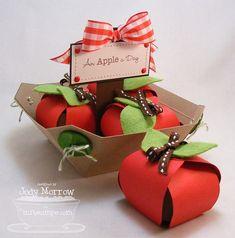 """an apple a day""  favor boxes- teacher appreciation"