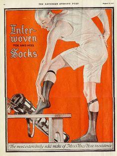 J.C. Leyendecker Interwoven Socks Ad...love the underwear...and those hot silk socks and garters...!