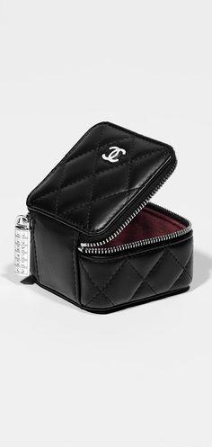 Small case, lambskin & silver metal-black & burgundy lining - CHANEL