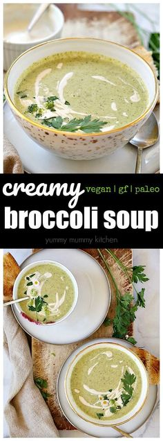 This deliciously creamy vegan broccoli soup is a snap to make in the blender. Fresh ingredients and silky cashew cream make this soup better than any cream of broccoli soup. No one can believe this soup is dairy-free. Broccoli Soup Recipes, Cream Of Broccoli Soup, Asparagus Soup, Cream Soup, Vegan Soups, Vegetarian Recipes, Healthy Recipes, Healthy Soups, Blender Recipes