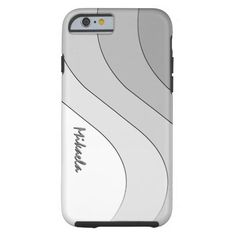 Tonal Wave Silver Gray Striped Personalized iPhone 6 Case