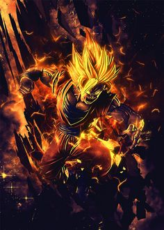 Dragon Ball Super Saiyan Goku - by SyanArt @ Dragon Ball Z, Dragon Z, Dragon Ball Image, Goku Super, Super Saiyan, Majin Boo, Digital Foto, Hacker Wallpaper, Poster Prints