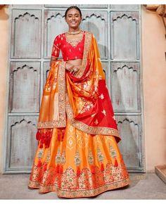 2138ead78f Designer Semi Stitched Yellow Color Lehenga With Embroidery Raw Silk  Blouse. Silk DupattaGhagra CholiOrange ...