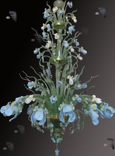 Acquatico 12 Opaline Iriis Flower Chandelier...