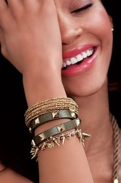 Renegade Cluster Bracelet (worn by Katy Perry) with the Pyramid Double Wrap & Bardot Spiral Bangles.