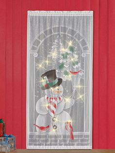 Snowman LED Lighted Lace Curtain Panel