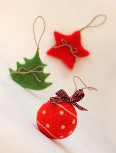 Red Christmas Felted Ball - Christmas ornament - Needle Felted. $9.00, via Etsy.