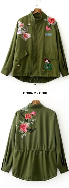 Army Green Embroidery Drawstring Coat With Zipper