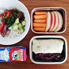 flank steak burrito, cabbage strips, baby carrots, apple slices
