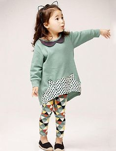 Girl's Casual/Daily Clothing Set,Rayon Spring / Fall Green / Gray