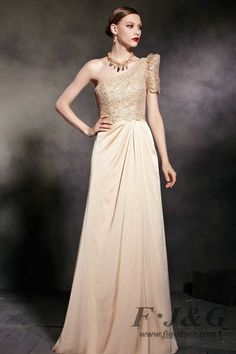 Apricot Empire One Shoulder Backless Prom Dress 30605