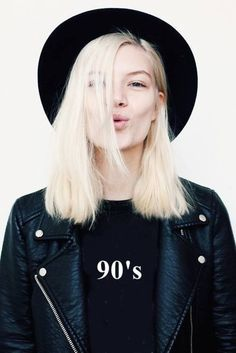 Jacket: leather 90s style black hat black leather graphic tee all black everything blonde hair