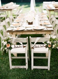 his and hers bride and groom chair signs
