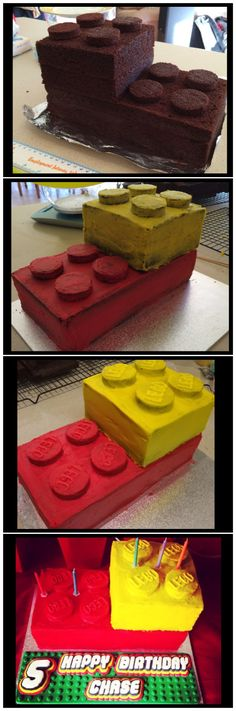 "Buttercream Lego brick cake with fondant lettering.  The size of this cake is approximately 11""x5.5"" and 3"" high for the bottom brick and 5.5""x5.5"" and 3"" high for the top brick.  The knobs on top of the bricks were made using a muffin tray and cut to 1 3/4"" circles using a cookie cutter.  It's always important to do a crumb layer of buttercream icing to avoid visibly seeing crumbs Such a fun cake!!"