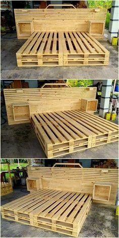 Wooden Pallet Furniture 48 Creative DIY Pallet Projects and Pallet Furniture Designs Diy Pallet Bed, Wooden Pallet Projects, Wooden Pallet Furniture, Wooden Pallets, Pallet Couch, Pallet Patio, Pallet Bed Frames, Wooden Beds, Outdoor Furniture