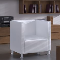 Modern White Armchair Faux Leather Tub Chair Living Room Furniture Armrest Seat