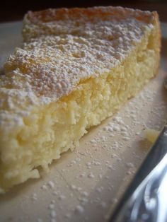 Lemony cream butter cake...now this is MY kind of dessert!  It reminds me of the only thing that I think is exceptional at Olive Garden: their lemon cream cake.  If you look closely at the picture you'll see there's a lemon cream cheese filling.  Yum!