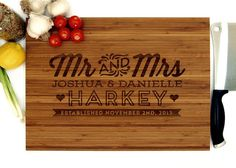 personalized cutting board wedding gift mr and mrs monogram housewarming gift engagement gift bride and groom christmas gift