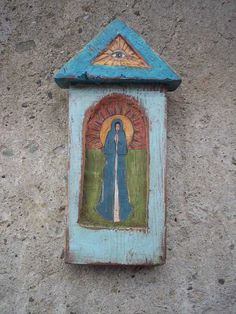 Mary  Wooden Rustic Shrine With Hand Painting Picture by Popielnik, $49.00