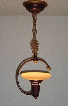 Lightolier ceiling fixture with custard glass
