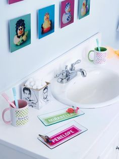 Make a splash in this modern bathroom for the kids. They'll love the retro metal prints and personalized glass plates. | Shutterfly