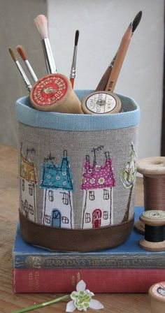 This is a really useful little fabric pot made from Russian linen and cottons and brought to life using free hand machine embroidery. It measures approx tall by 10 circ. Freehand Machine Embroidery, Free Motion Embroidery, Free Machine Embroidery, Embroidery Applique, Fabric Boxes, Fabric Scraps, Scrap Fabric, Sewing Art, Sewing Crafts