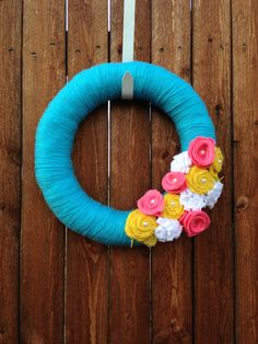 14 inch Aqua Spring Yarn Wreath, Easter Wreath, summer yarn wreath