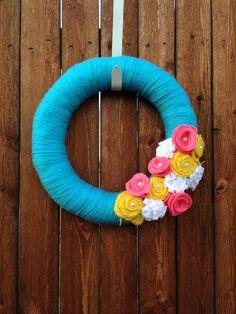 14 inch Aqua Spring Yarn Wreath, Easter Wreath, summer yarn wreath