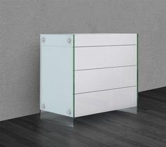 Casabianca IL VETRO High Gloss White Lacquer Tall Dresser/ Nightstand