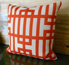 Designer pillow cover red orange geometric by pillowflightpdx, $68.00