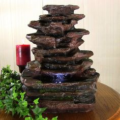 New Indoor Tabletop Rock Falls Electric LED Light Water Fountain Desk Home Decor…