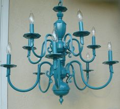 Vintage Turquoise Chandelier (I want this in the living room over my reading area w/ the teal wingback chair & damask ottoman)
