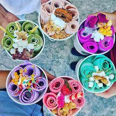 16 Insta-Worthy Murals in NoDa Roll Up Ice Cream, Ice Roll, Icecream Rolls, Ice Cream Business, Delicious Desserts, Yummy Food, Sleepover Food, Colorful Desserts, Tumblr Food