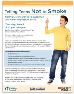 June 5, 2014: 5:30-8 p.m - Join us for a frank discussion about the risks of tobacco use by teens, pre-teens and the family members who care for them. Shawn Ralston, M.D., of Children's Hospital at Dartmouth will share her expert advice about how to have motivating and nonthreatening conversations with teens and children about smoking.