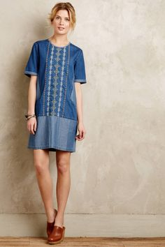 Anthropologie Diamond Lane Tunic Dress Sz S, Blue Embroidered Cotton Denim Mini #ConditionsApply #Casual
