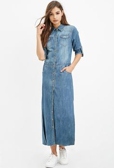 Denim Maxi Shirt Dress Found on my new favorite app Dote Shopping Denim Maxi Dress, Denim Outfit, Dress Shirt, Denim Fashion, Fashion Outfits, Women's Fashion, White Sneakers Outfit, All Jeans, Moda Casual