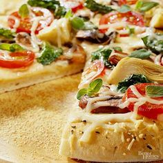 Even if you're eating healthy, you can still indulge in a cheesy slice of pizza. This Mediterranean version uses Alfredo sauce, spinach leaves, fresh mushrooms, and artichoke hearts. The result is a mouthwatering pizza that's better than delivery. Substitute a light Alfredo sauce to cut calories and fat even more.