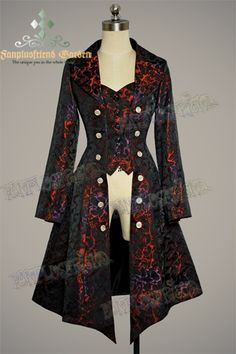 Gothic Aristocrat: Embellished-Vest Pirate Brocade Jacket - $123.20