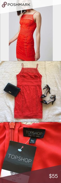 "NWT: Topshop red crochet dress, sz 10 NWT: Topshop red floral crochet bodycon dress with spaghetti straps. Approximate measurements: Bust: 17.5"" Waist: 16"", Hips: 19"". Size: 10 (topshop runs small, I think will fit 8) Topshop Dresses Mini"