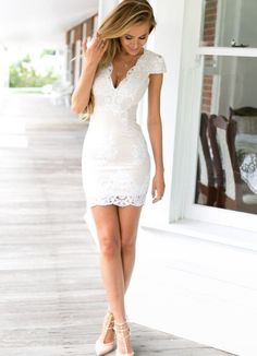 For Our Love Dress (Nude/White) Xenia Boutique - White Dresses - Ideas of White Dresses Graduation Dress College, Short Graduation Dresses, Grad Dresses, Sexy Dresses, White Homecoming Dresses, Mini Wedding Dresses, Shower Dresses, Frill Dress, Little White Dresses
